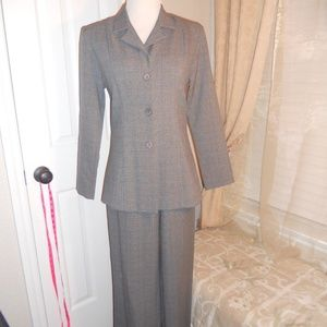 Women's gray pants suit.